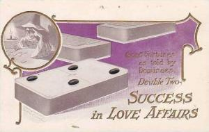 Good Fortunes Dominoes Double Two Success In Love Affairs Embossed