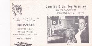 PIEDMONT, South Carolina, 60-70s; Radio Card, KCP-7518, The Wildcat
