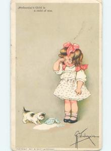 Pre-Linen signed GG WIEDERSEIM - GIRL WATCHES KITTEN CAT WITH SPILT MILK HL5176