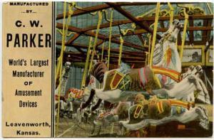 Leavenworth KS Parker Amusement Carousel Merry Go Round Complete Rides Postcard