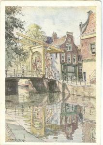 Painting, Brug Groenburgwal te Amsterdam, unused Postcard