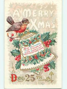 Divided-Back christmas ORANGE & BROWN BIRD SITTING ON BELL r4707
