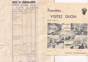 Hotel De Chapeau Rouge Dijon 1940s Receipt & Booklet Ephemera
