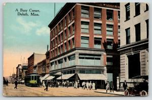 Duluth Minnesota~A Busy Corner~JM Giddding & Co Millinery~Trolley~Barber~1910