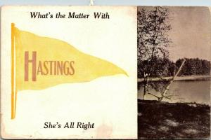 What's the Matter With Hastings Michigan~She's All Right~1910 Pennant Postcard