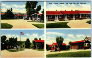 Hot Springs, South Dakota Postcard LOG CABINS COURTS Motel Roadside Linen c1950s