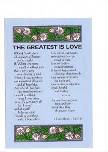 Canadian Bible Society, Corinthians Quote and Greatest is Love Poem