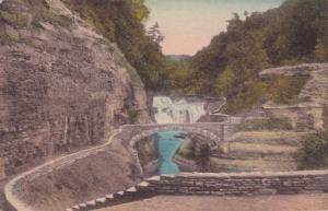 Lower Falls & Foot Bridge Genesee River Gorge Letchworth State Park NY New York