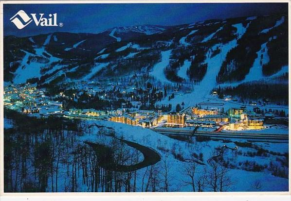 Colorado Ten Square Miles Of Ski Mountain Risiing From The Warm Lights Of Vai...
