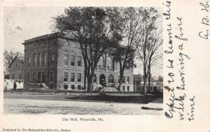 Waterville Maine~City Hall & Street Scene~Stores in Distance~1906 B&W Postcard