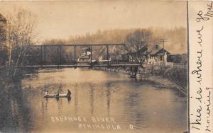 E62/ Peninsula Ohio RPPC Postcard 1907 Bridge Railroad Depot Boat River