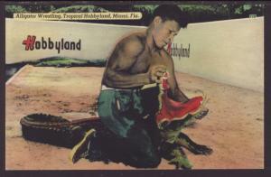Alligator Wrestling,Tropical Hobbyland,Miami,FL Postcard