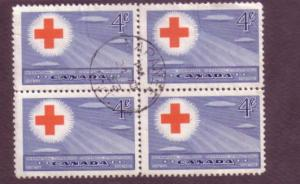 Canada, Used Block of Four, Red Cross, 4 Cent, Scott #317