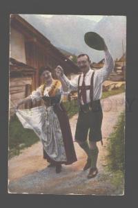 081491 GERMAN Dancer pair Vintage colorful PC