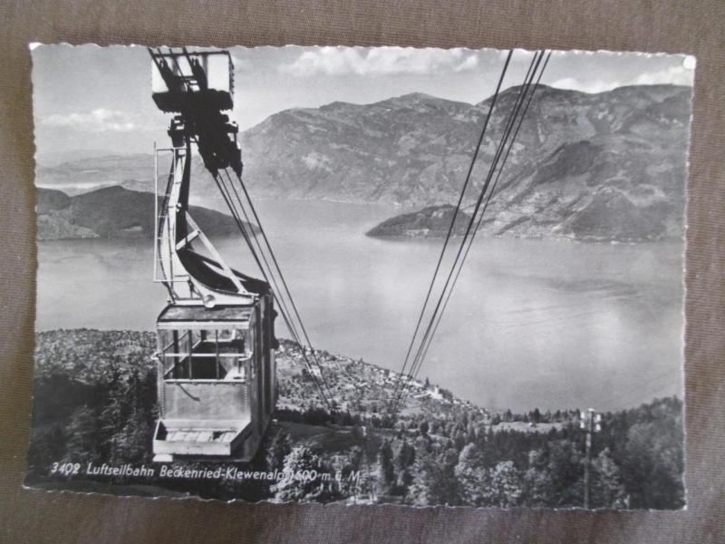Vintage Switzerland Photo Postcard - Beckenried Klewenalp Cable Car Lift (TT109)