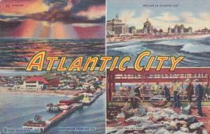 New Jersey Greetings From Atlantic City Multi View 1953 Curteich