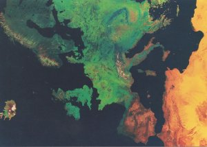 Europe Map From Space Rare Weather Satellite Astronomy Postcard