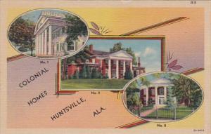 Alabama Huntsville Beautiful Colonial Homes Curteich