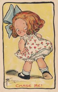 Grace DRAYTON-WIDERSEIM, 1909; Little girl with blue bow in hair, Chase Me!
