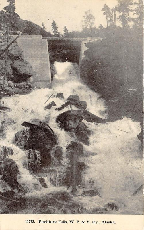 Alaska~Pitchfork Falls~WP&Y Railroad Bridge~c1910 B&W Postcard
