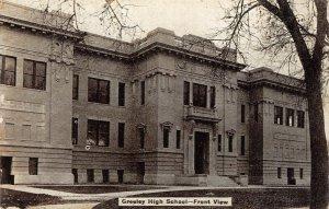 Greeley High School - Front View Colorado ca 1910s Vintage Postcard