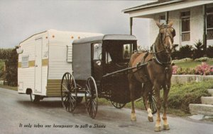 It only takes one horsepower to pull a Shasta, 40-60s; Horse & buggy, Trailer