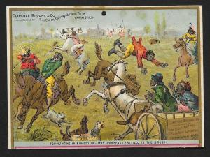 VICTORIAN TRADE CARD Clarence Brooks Varnishes Blacks Fox Hunting in Blackville