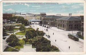 Rhode Island Providence Railroad Depot & Park from Central Fire Station 1915