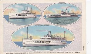 3-Views, Michigan State Auto Ferries Connecting State Highway Between Mackina...