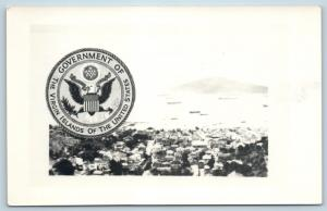 Postcard Virgin Islands US Seal Airview of Island RPPC Real Photo K21