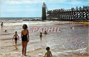 Postcard Modern Capbreton The Pier Lighthouse in the Bath Time