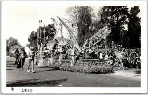 1940 Pasadena Rose Parade RPPC Photo Postcard Midsummer Night's Dream Float