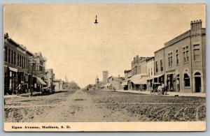 Madison South Dakota~Egan Avenue~Wide Dirt Road~Horse Buggy on Sidewalk~c1910