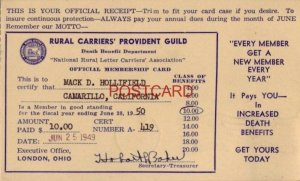 OFFICIAL RECEIPT - RURAL CARRIERS' PROVIDENT GUILD - MEMBERSHIP CARD for 1950