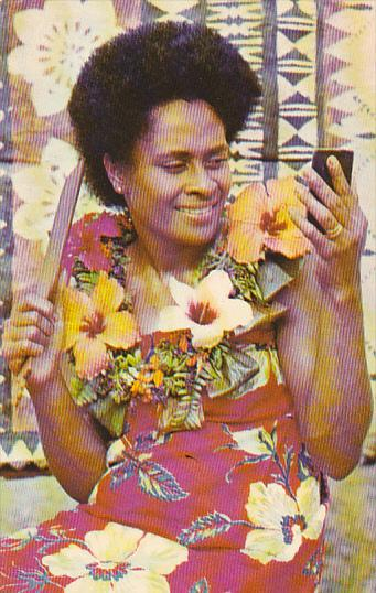 Fiji Native Woman Getting Ready For The Dance