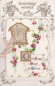 Bi-fold, BIRTHDAY; Wishes, Opal accented clock, Only happy Days be Thine, 00-10s