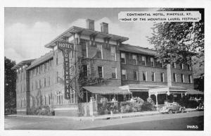 Pineville Kentucky Continental Hotel Street View Antique Postcard K104052