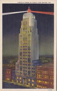 Indiana Fort Wayne Lincoln Tower By Night 1942 Curteich