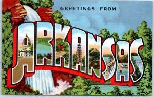 ARKANSAS Large Letter Postcard Colorful KROPP Linen w/ 1942 Cancel