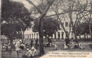 Colonial Soldiers Hanoi, Tonkin, Indo China, early postcard, used in 1929