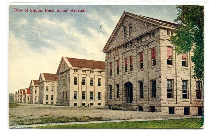 Row of Shops Rock Island Arsenal Illinois 1909 postcard
