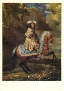 Russia Moscow anonymus artist portrait of a Horse man in blue postcard
