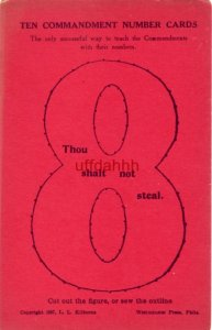 TEN COMMANDMENT NUMBER CARDS 8 copyright 1897 Kilborne Cut out or sew outline