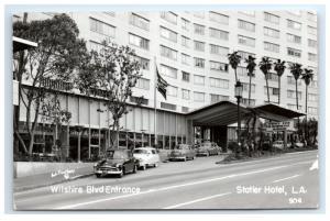 Postcard Wilshire Blvd Entrance, Statler Hotel, Los Angeles, CA 1953 RPPC H12