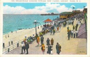 Boardwalk Looking Toward New Casino Asbury Park NJ Unused W-Border Postcard