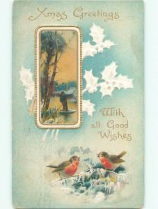 Divided-Back CHRISTMAS BIRDS SCENE Pretty Postcard W8546