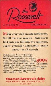 F47/ Granite City Illinois Postcard c1940s Roosevelt Automobile Advertisement