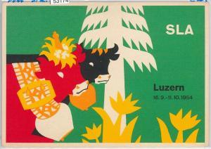 53174 -  VINTAGE POSTCARD - ADVERTISING - SLA Luzern SWITZERLAND 1954