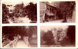VIEWS GUYS CLIFF  HOUSE -- BRIDGE - WARWICK CASTLE, ANTIQUE LONDON - POSTCARD