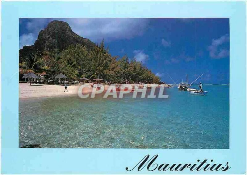 Modern Postcard Mauritius Beach of the Meridian line